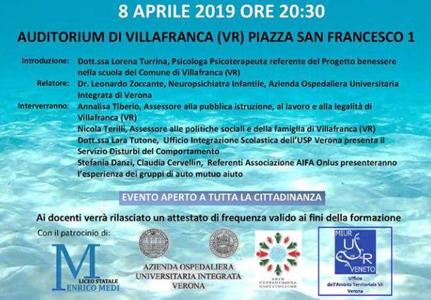 8 aprile ore 20:30 - Conferenza sul Disturbo da Decifit di Attenzione/Iperattività ADHD - Aperto a tutta la cittadinanza