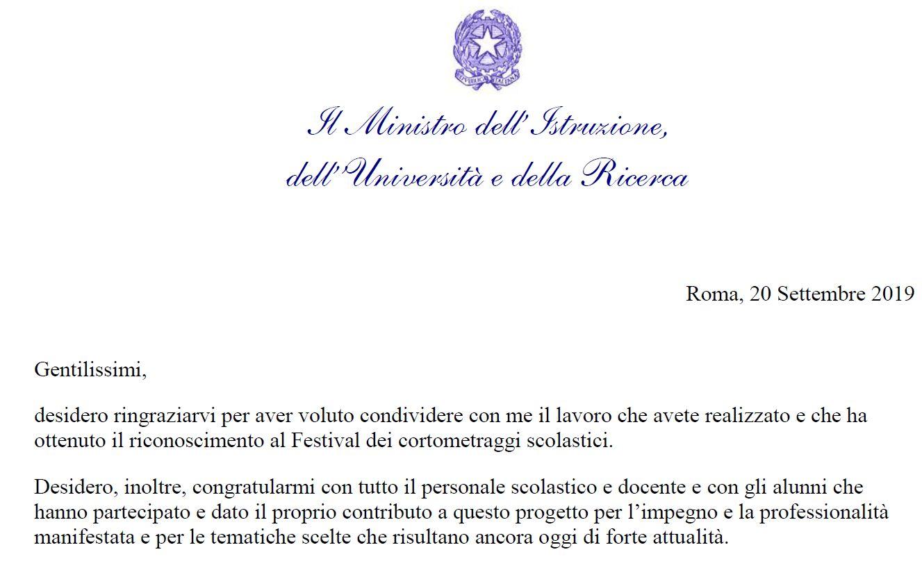Il ministro Fioramonti si congratula con il Liceo Medi