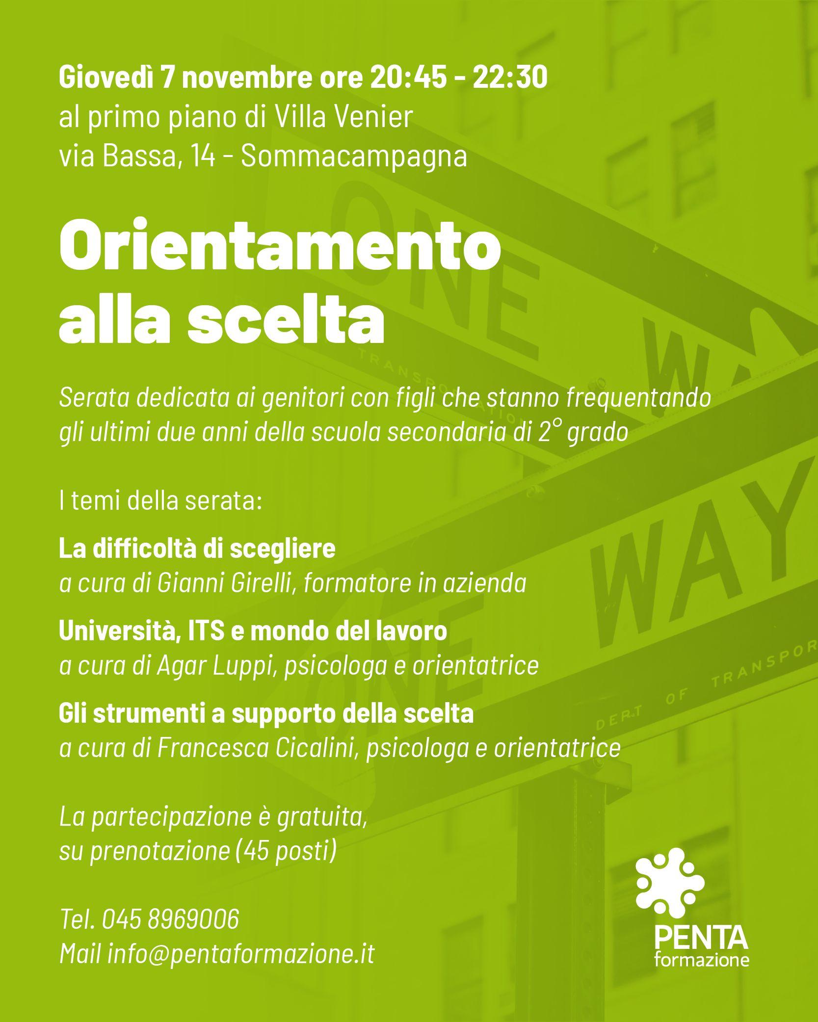 Orientamento alla scelta dopo il Liceo - Giovedì 7 novembre (Villa Venier)