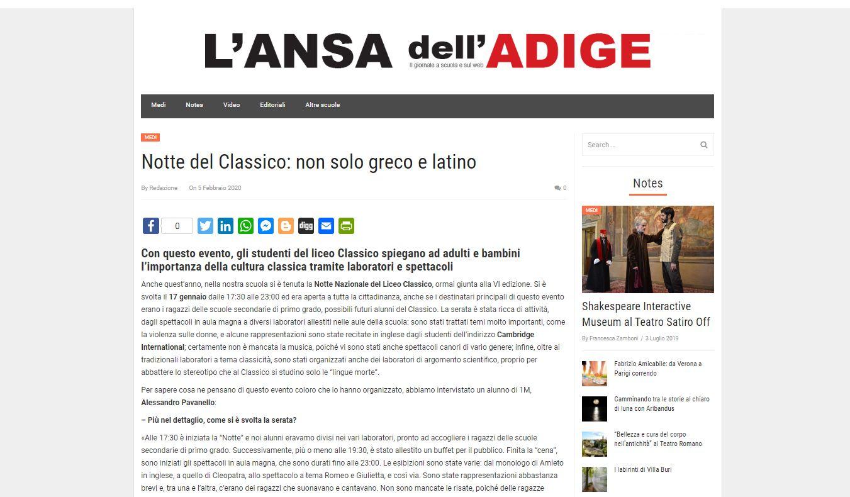 !! Nuovo articolo Medi@vox !! Notte del Classico: non solo greco e latino