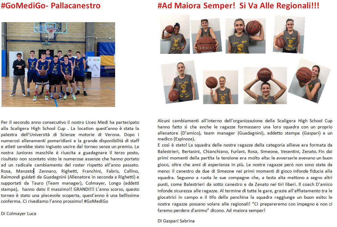 I successi del Basket Liceo Medi 2020