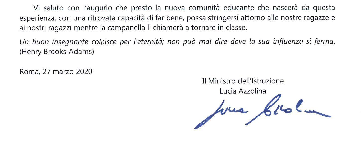 Lettera aperta del Ministro dell'Istruzione alla Comunità Scolastica