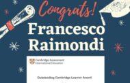 Il Liceo Medi esprime le più vive congratulazioni a Francesco Raimondi!
