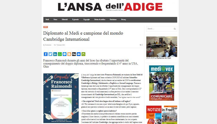 !! Nuovo articolo Medi@vox !! Diplomato al Medi e campione del mondo Cambridge International