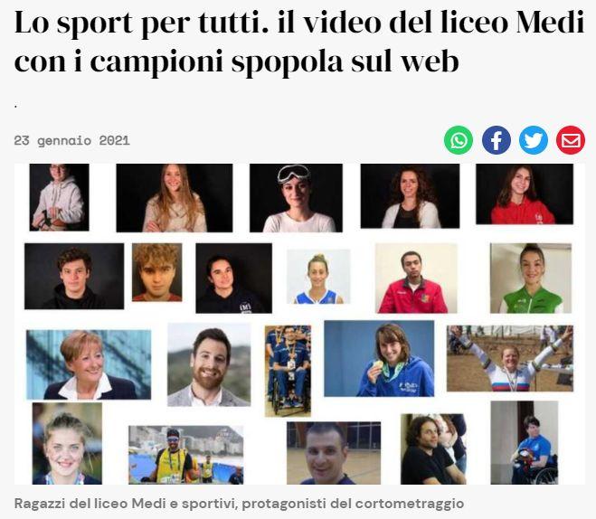 Lo sport per tutti - Il video del Liceo Medi con i campioni spopola sul web