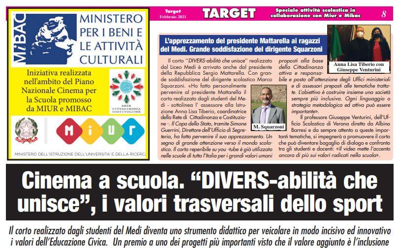 """Cortometraggio del Medi """"DIVERS-abilità che unisce"""" - L'apprezzamento del Presidente della Repubblica Mattarella"""