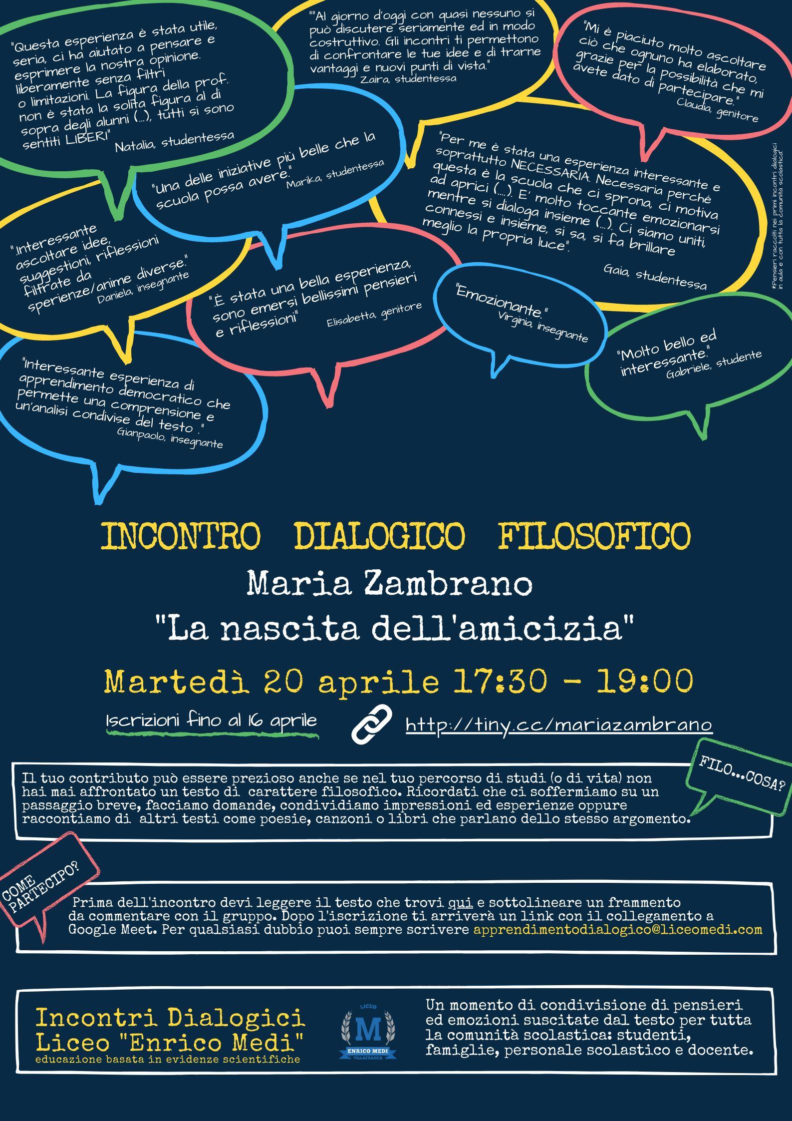 Incontro dialogico filosofico aperto a tutti - Martedì 20 aprile 17:30 - 19:00 - Iscrizioni entro il 16 aprile
